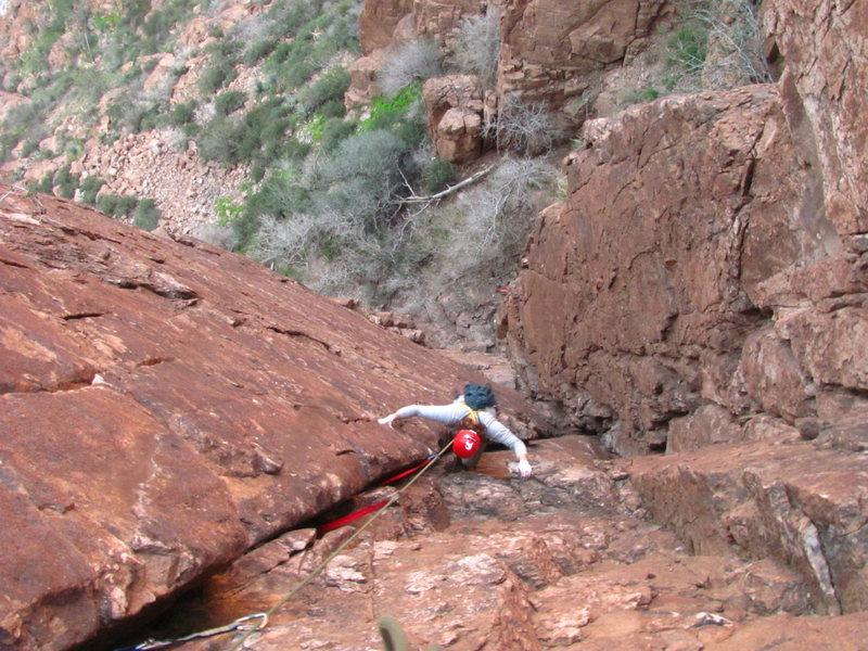 Rock Climbing Photo: Luke cleaning Anne