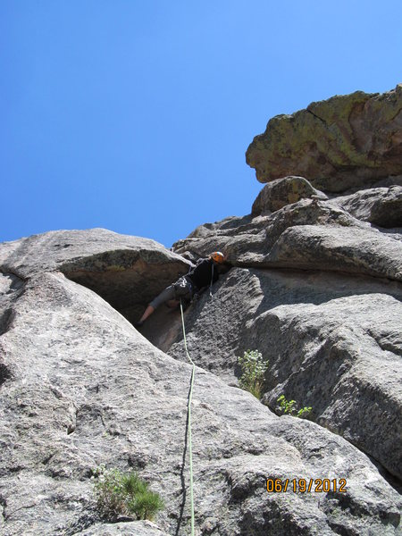 Difficult overhang on the summit pitch.