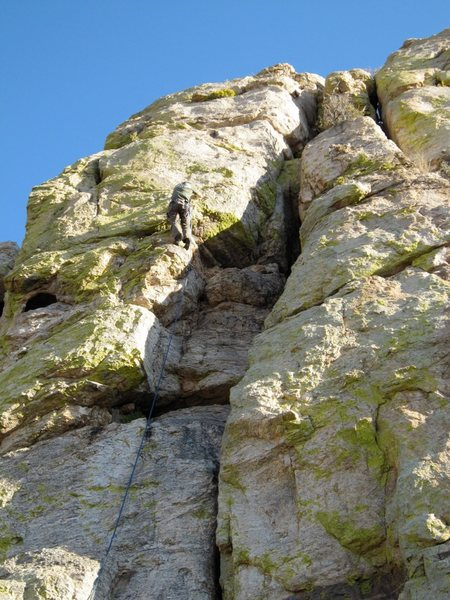 Rock Climbing Photo: Climber just after leaving the chimney to move thr...
