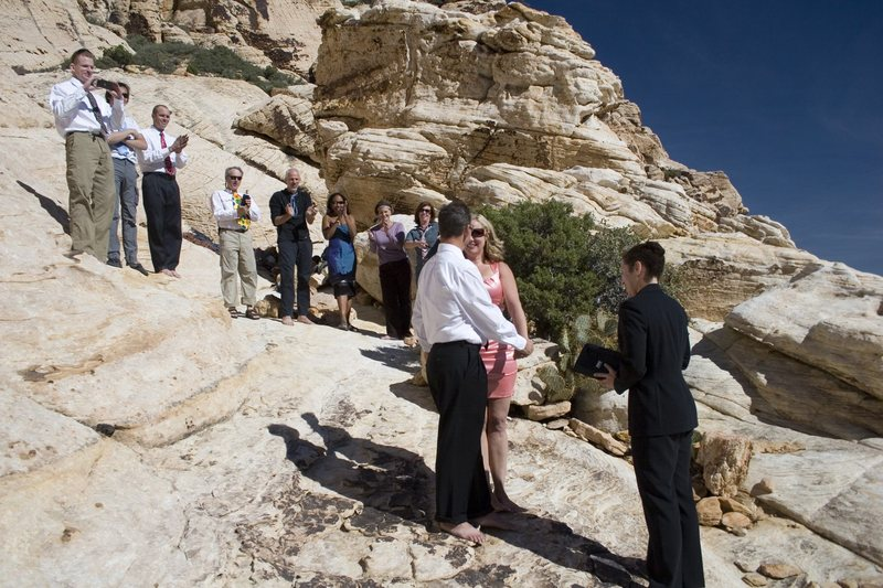 Exchanging wedding vows in Vegas...