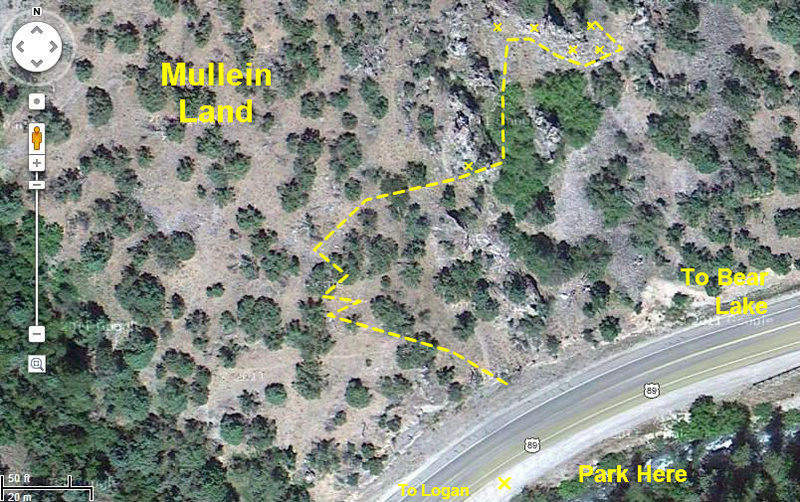 Rock Climbing Photo: Google Earth view of Mullein Land parking and appr...