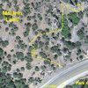 Google Earth view of Mullein Land parking and approach