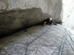 Rock Climbing Photo: Pitch8 - can be the crux of the route? Zander just...