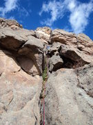 Rock Climbing Photo: Deb climbs the upper part of Vegan's first pitch.