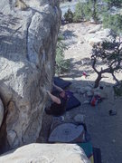 Rock Climbing Photo: Luke Childers sticking the big move on Sling Blade...