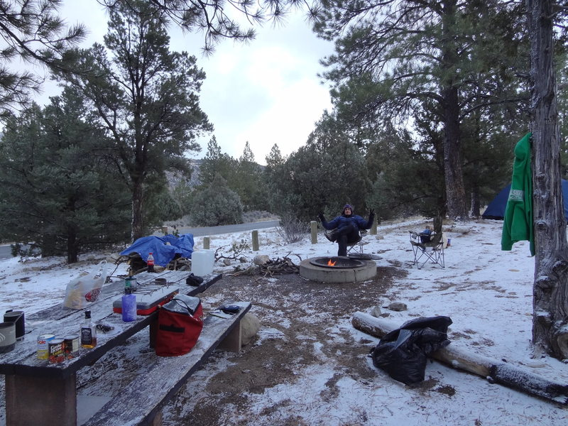 Luke Childers loving the winter style camping on his 1st night at Joe's!!  Welcome...