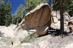 Rock Climbing Photo: Crunchy Boulder South Face Topo
