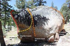 Rock Climbing Photo: Crunchy Boulder East Face Topo