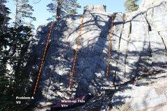Rock Climbing Photo: Warm-up Slab Topo