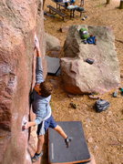 Daniel (age 13) almost sticking the crux move for the 60th time in a row.