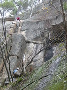 Rock Climbing Photo: Unknown climbers on Funhouse.  The leader is just ...
