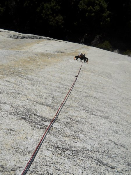Rock Climbing Photo: An ocean of granite. Pitch 2 of Mid-Life Crisis.