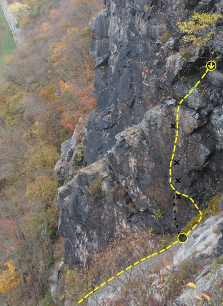 Rock Climbing Photo: Approach Pitch, Standard route, and Direct Start S...