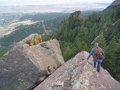 Rock Climbing Photo: Downclimbing from the Dreadnaught summit.