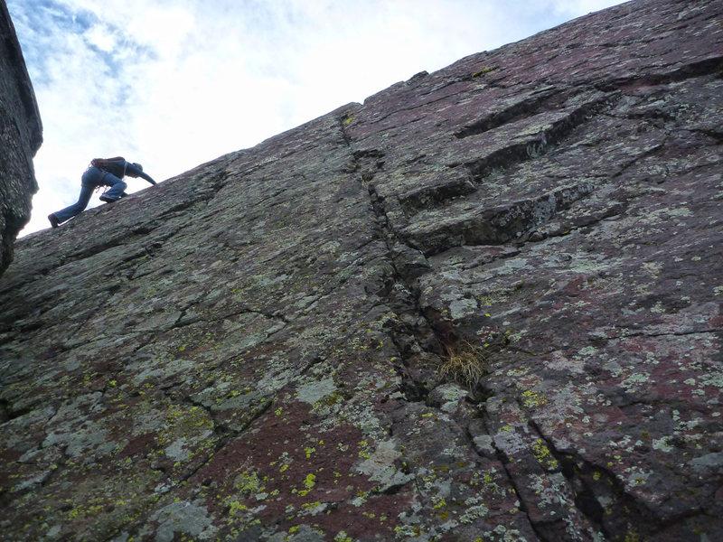 Rock Climbing Photo: Nearing the summit of Dreadnaught.