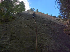 Rock Climbing Photo: Start of Dreadnaught's East Face. Easy but licheny...