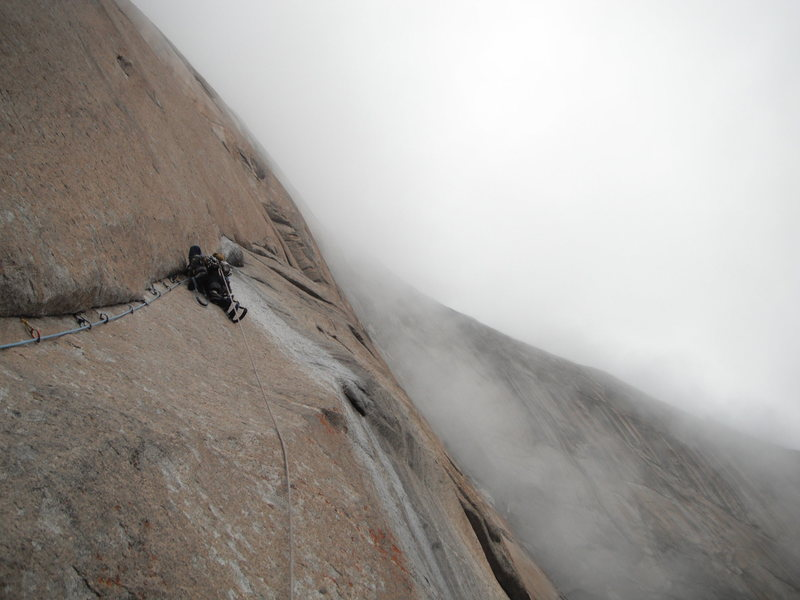 Rock Climbing Photo: Climbing in the fog