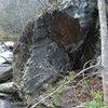 Streamside boulder