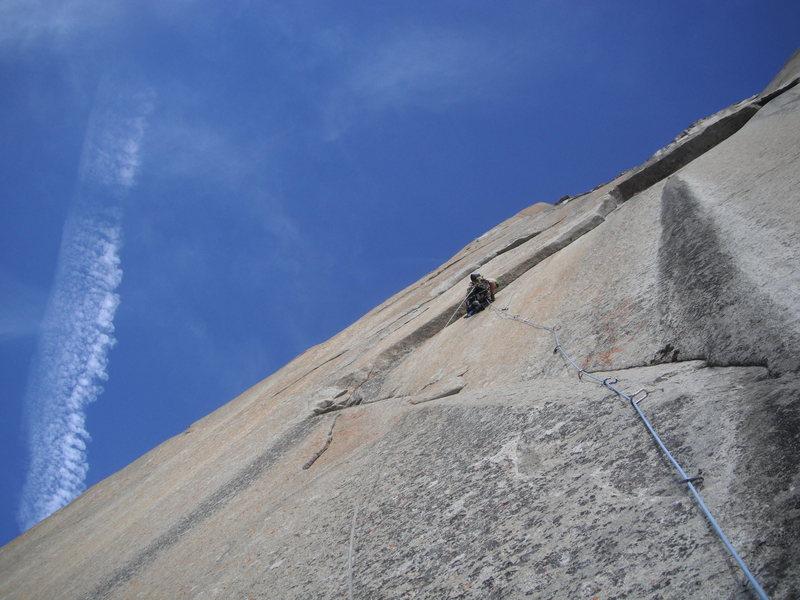 Rock Climbing Photo: Perfect conditions half way up Mescalito