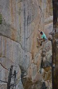 Rock Climbing Photo: Climber on the first technical, crimpy crux, most ...