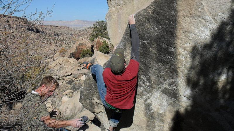 Rock Climbing Photo: Brad working along the problem.