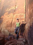 Rock Climbing Photo: Pausing to pose with the amazing cracks there.