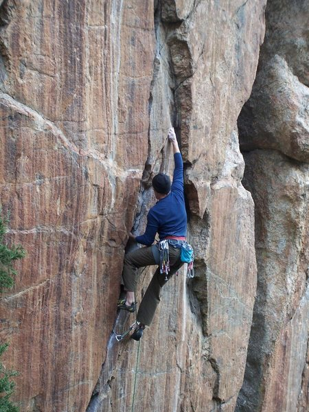 Rock Climbing Photo: Rob styling the lower crack....