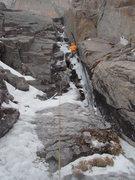 Rock Climbing Photo: Pitch 2, WI5+ M6, 110 feet, Fields Chimney.