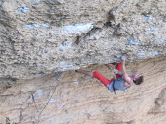 Rock Climbing Photo: Low crux on Sativa Patatica