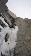 Rock Climbing Photo: Pitch 3, WI4 M6+, Fields Chimney.