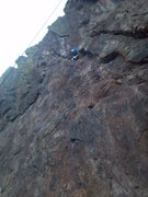 Rock Climbing Photo: Chalking up before the crux.
