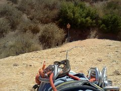 Rock Climbing Photo: Looking down the first pitch of Goldline.  After t...