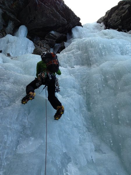 The first pitch in fat conditions. The approach in 2012 fall season was all scree - no snow slogging. The low angle ice above was also fat and fun climbing.