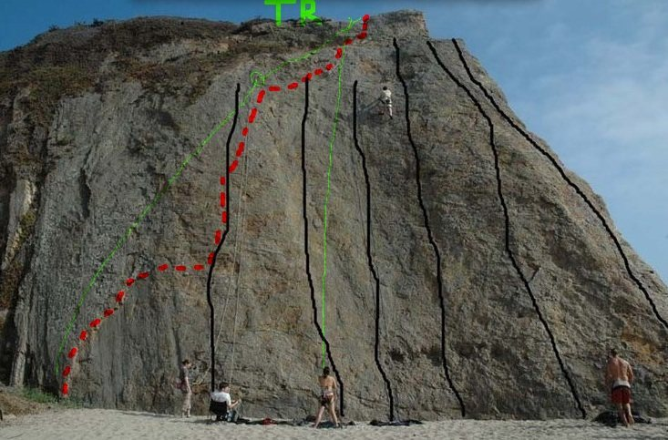 The Left Flake route is in red, with green lines showing the top rope setup.