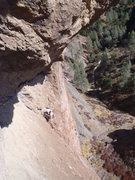 Rock Climbing Photo: Bertram cleaning P2