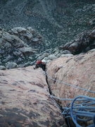 Rock Climbing Photo: 3rd pitch, nice long hand crack that goes on for d...