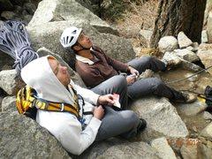 Rock Climbing Photo: Enjoying the show. EN and JK
