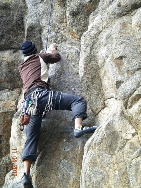 Rock Climbing Photo: Cleaning up Dominator