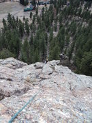 Rock Climbing Photo: Chriss pops up after the second crack onto easy te...