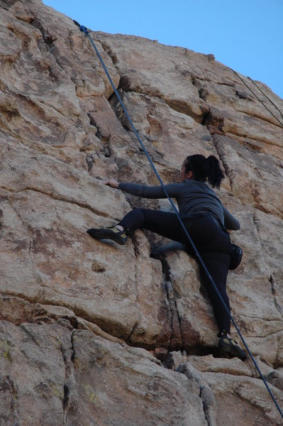 Jess climbing in good style on Butterfingers