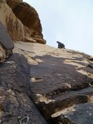 Rock Climbing Photo: Ron putting up pitch 3: cold, cloudy week days mea...