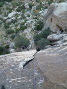 Rock Climbing Photo: Trish working her magic on the jammy whiteness of ...