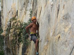 Rock Climbing Photo: Rajiv past the boulder start