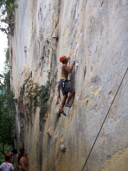 Rock Climbing Photo: Rajiv on Unsa Mani Mikko 5.12a Cantabaco Cebu Phil...