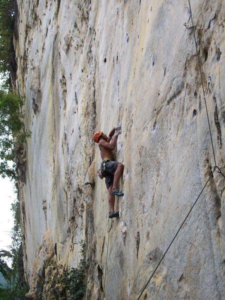 Rock Climbing Photo: Rajiv past the 2nd crux