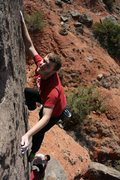 Rock Climbing Photo: Myself on The Vein in Palo Duro Canyon, Texas.