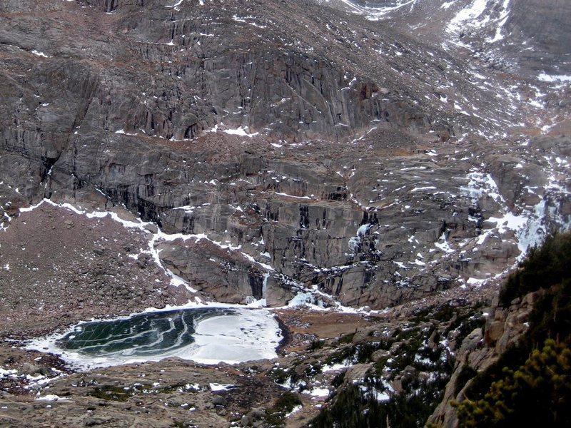 Rock Climbing Photo: Peacock Pool with Columbine Falls and other flows.