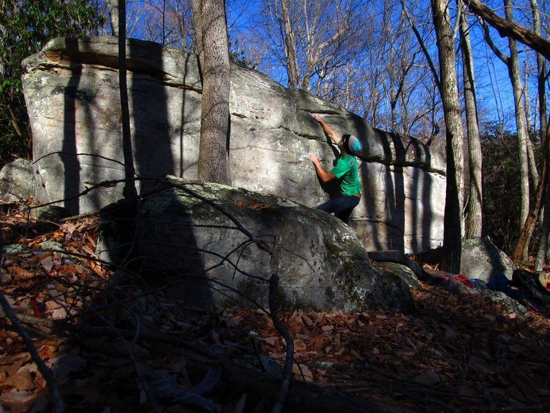 Aaron James Parlier on the Warm-Up Boulder