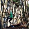 "Aaron James Parlier warming up on ""Triangulation""(V4), Buttercup Boulder"