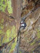 Rock Climbing Photo: Daniel following a traverse on pitch 5